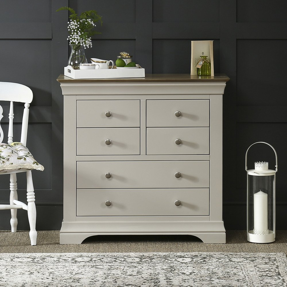 french country grey painted 4 over 2 drawer chest - Painted Bedroom Furniture