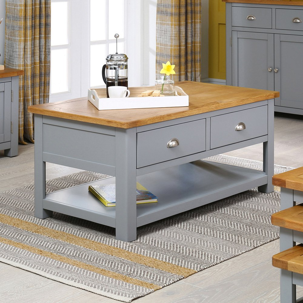 Manor Grey Painted 2 Drawer Coffee Table