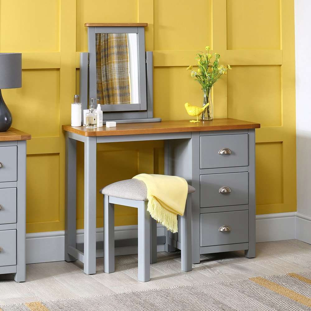 Manor Grey Painted 3 Drawer Dressing Table Set with Mirror and Stool ...